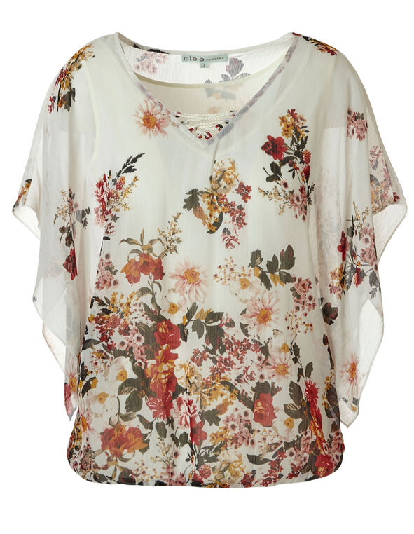 White Floral Chiffon Bubble Blouse, White, hi-res