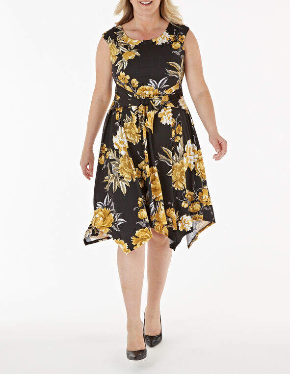 Yellow Floral Fit & Flare Dress, Black/Yellow, hi-res