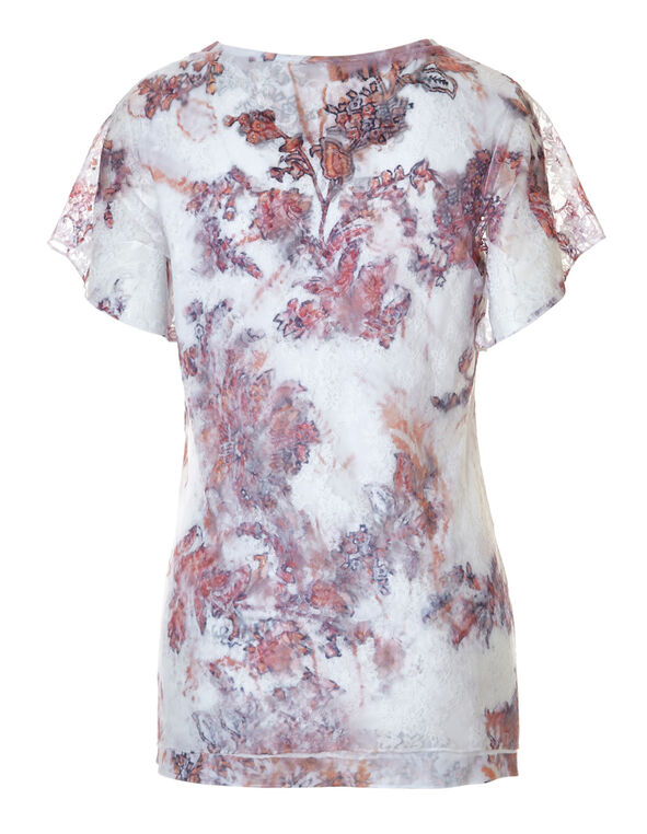 Seashell Floral Lace Top, Seashell Pink Print, hi-res