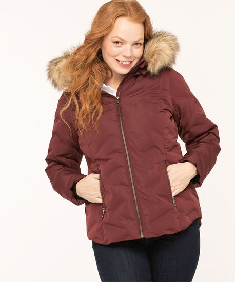 Feather Down Puffer Coat, Mulberry, hi-res