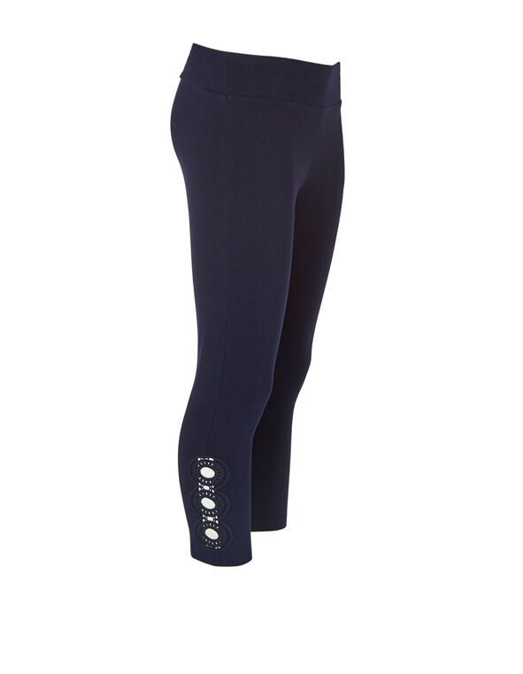 Summer Navy Cotton Capri Legging, Summer Navy, hi-res