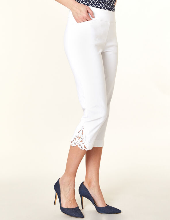 White Lace Slim Capri, White, hi-res