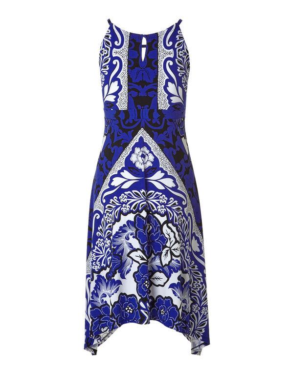 Cobalt Printed Shark Bite Dress, Cobalt, hi-res