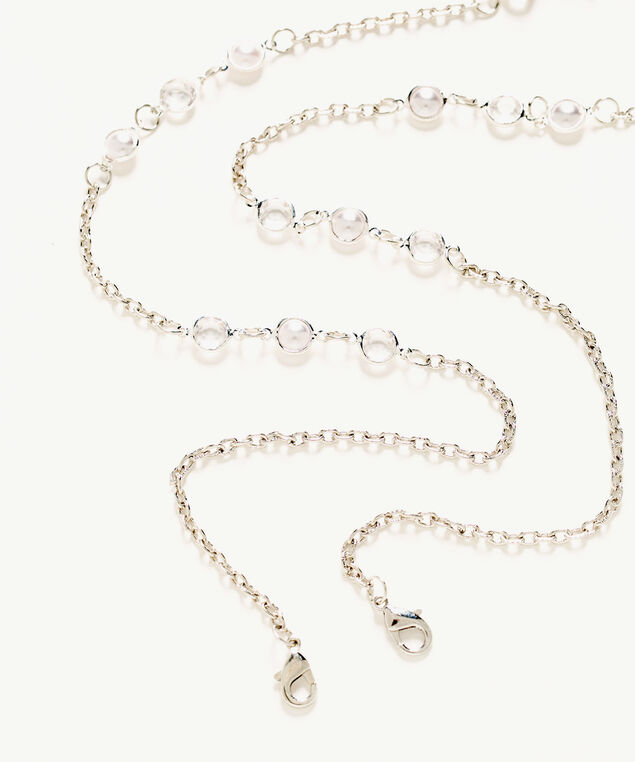 Silver Stationed Pearl Mask Chain, Silver/Pearl, hi-res