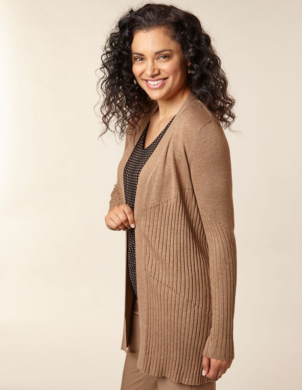 Toffee Long Rib Knit Cardigan, Brown/Toffee, hi-res