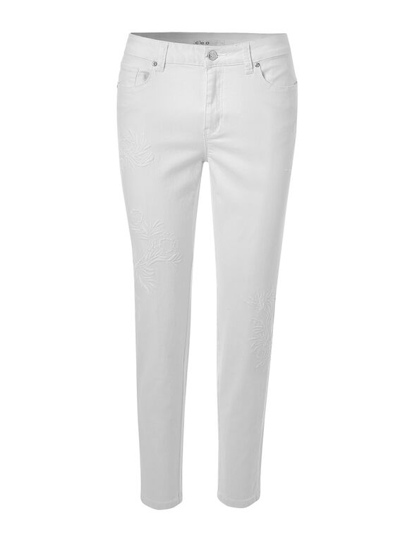 White Embroidery Ankle Jean, White, hi-res