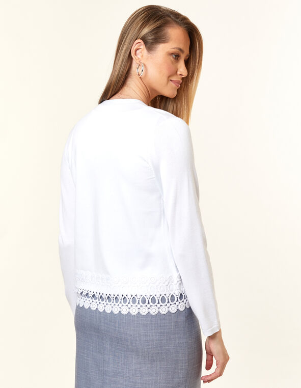 White Crochet Cardigan, White, hi-res