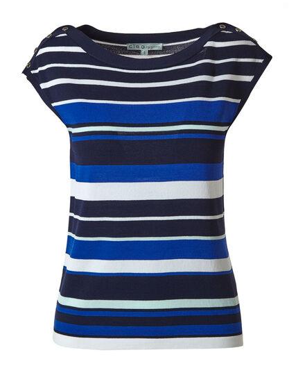 Electric Blue Striped Sweater Top, Electric Blue, hi-res