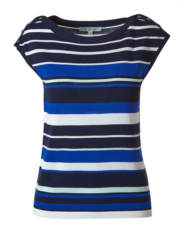 Electric Blue Striped Sweater Top, Electric Blue, hi-res