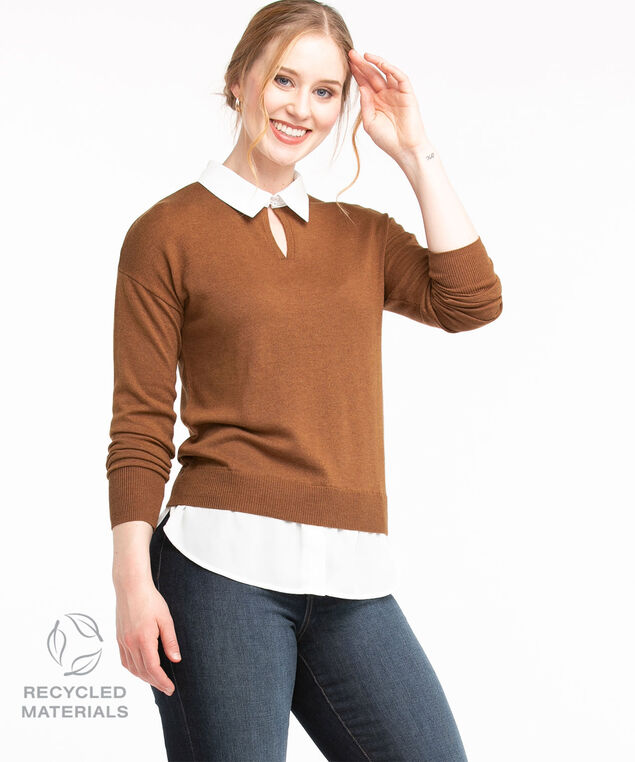 Recycled Collared Fooler Sweater, Cider Mix/Ivory