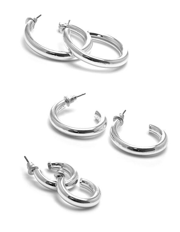 Silver Hoop Earring Trio Set, Silver, hi-res