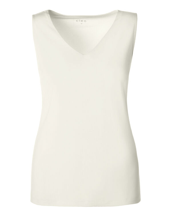 V-Neck Essential Layering Top, Ivory, hi-res