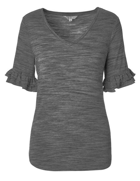 Grey Ruffle Sleeve Top, Grey, hi-res