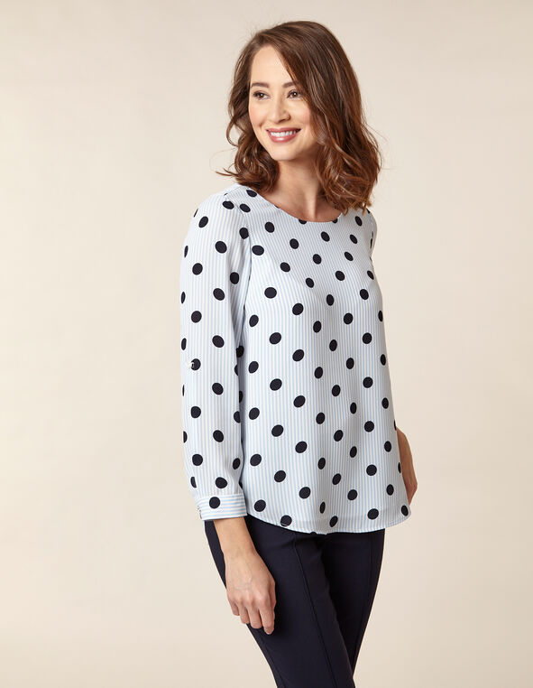 Polka Dot Blouse, Blue/Navy, hi-res