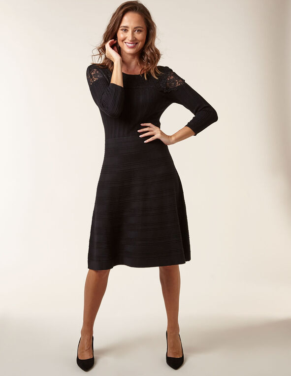 Black Lace Fit & Flare Sweater Dress, Black, hi-res