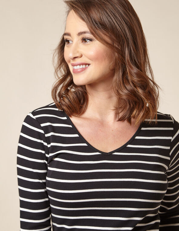 Black Striped Cotton Tee, Black, hi-res