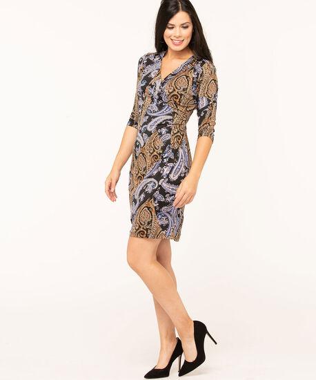 Paisley Printed Wrap Dress, Black/Gold/Navy, hi-res