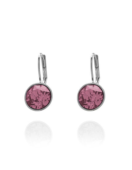 Pink Genuine Crystal Earring, Pink, hi-res
