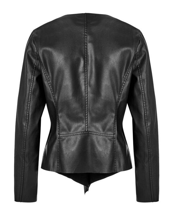 Black Open Front Jacket, Black, hi-res