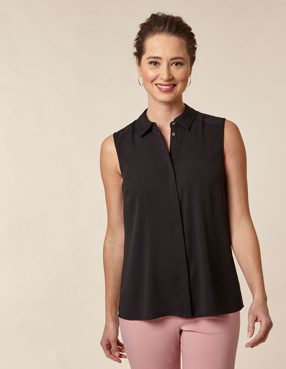 Collared Button Blouse, Black, hi-res