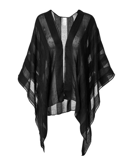 Black Sheer Stripe Kimono, Black, hi-res
