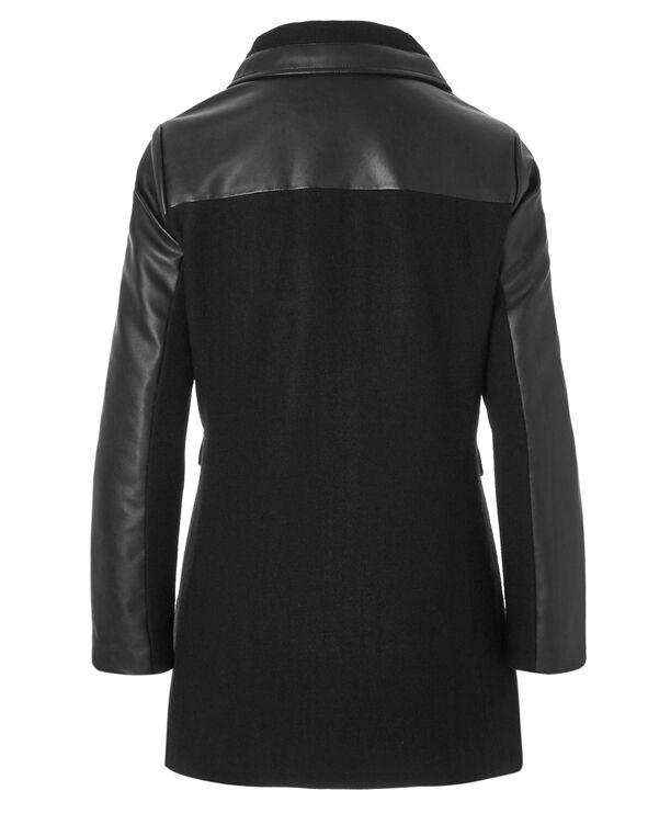 Black Faux Leather Wool Coat, Black, hi-res