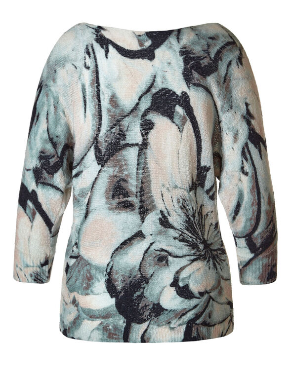 Teal Floral Printed Dolman Sweater, Teal/Pink, hi-res