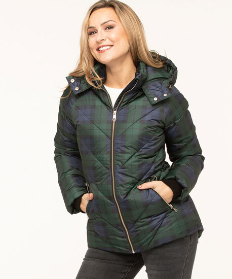 Printed Faux Down Puffer Jacket, Forest Green/Navy/Black, hi-res