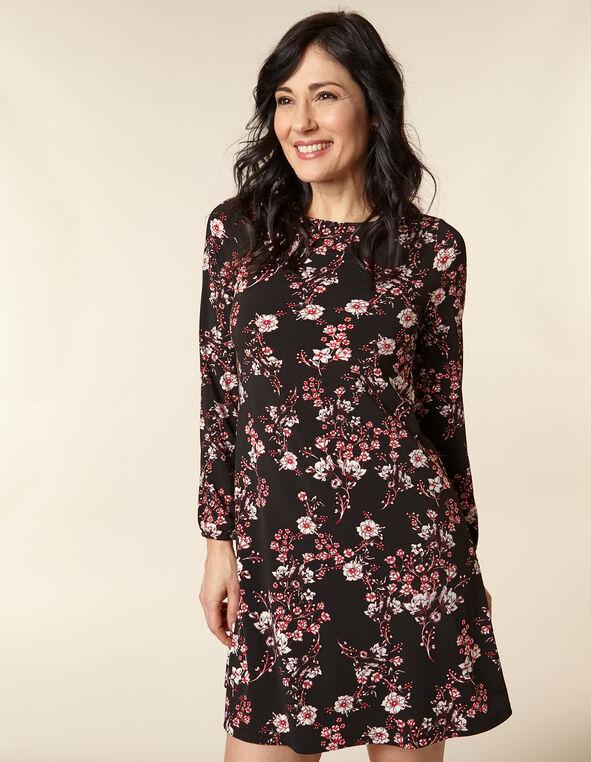 Black Floral Sketch Dress, Black/Poppy, hi-res