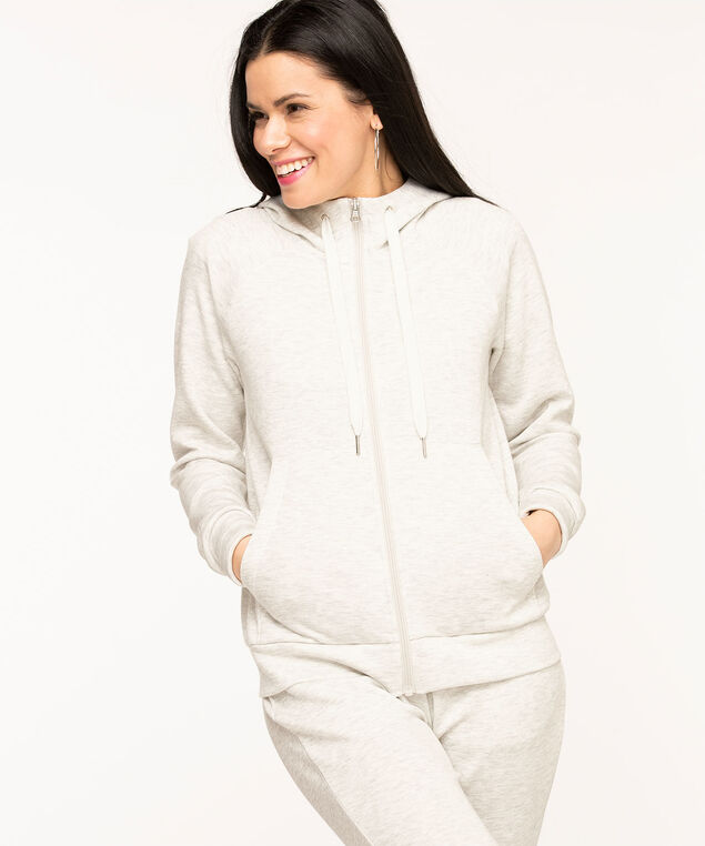 Zip Front Hoodie, Light Grey Mix