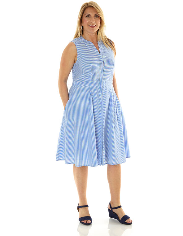 Blue Striped Cotton Fit & Flare Dress, Blue, hi-res