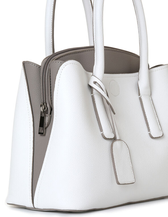 White Curved Colour Block Handbag, White/Grey, hi-res
