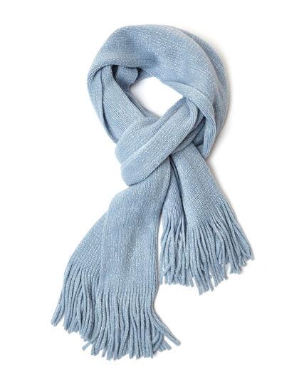 Blue Shimmer Knit Scarf, Blue, hi-res