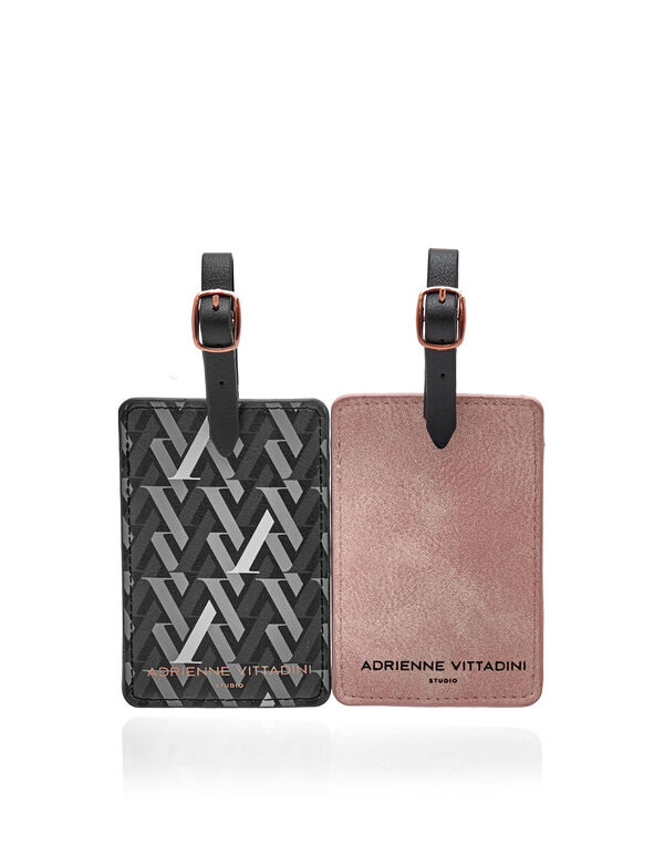 Pink & Black Luggage Tag Set, Pink/Black, hi-res