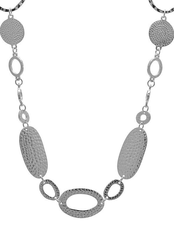 Long Hammered Loop Necklace, Silver, hi-res