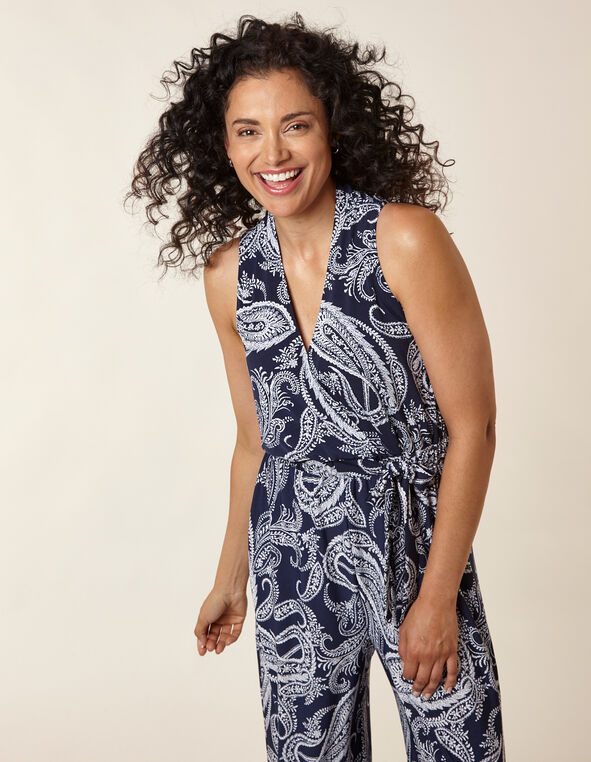 Navy Paisley Printed Jumpsuit, Navy, hi-res