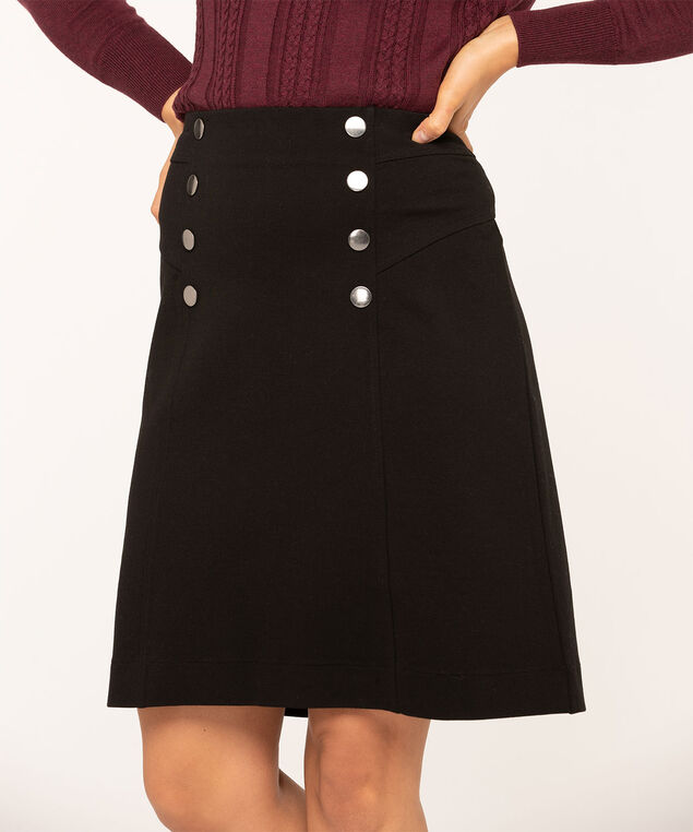 Black Button Detail Skirt, Black, hi-res