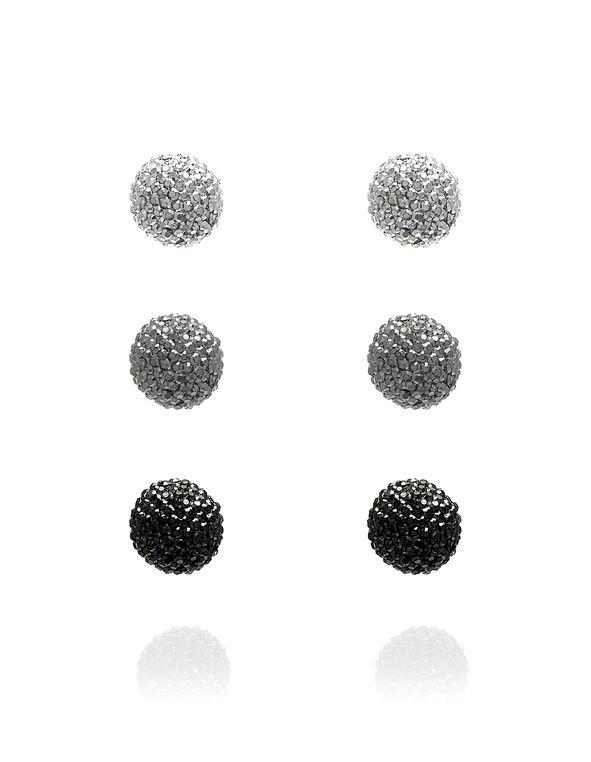 Beaded Trio Earring Set, Black, hi-res