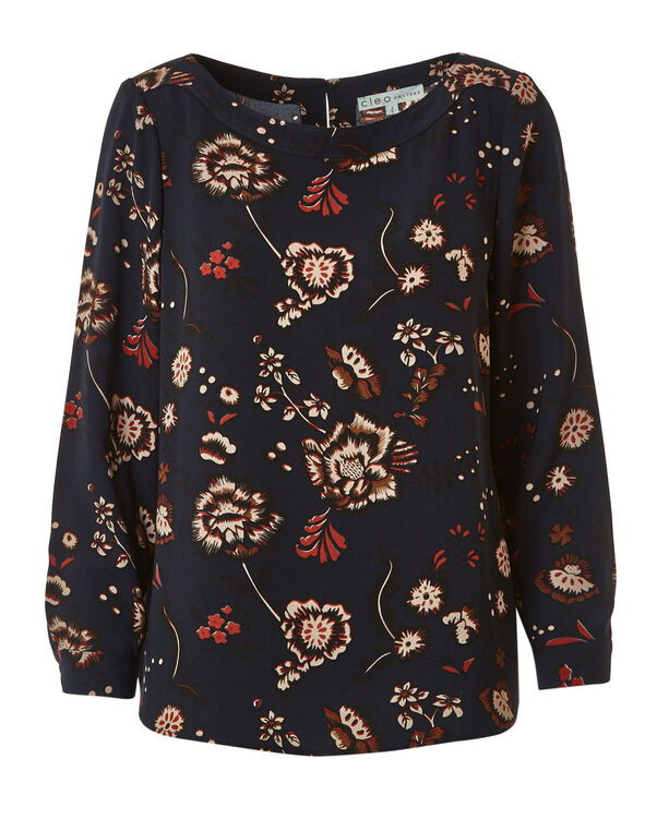 Navy Floral Long Sleeve Blouse, Navy, hi-res