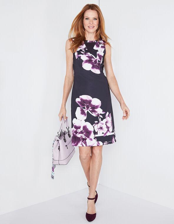 Navy Floral Mesh Insert Dress, Navy/Orchid, hi-res