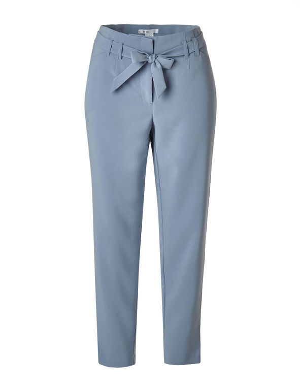 Dusty Blue Belted Slim Leg Pant, Dusty Blue, hi-res
