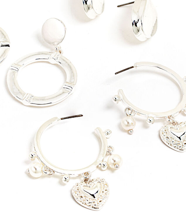 Silver Earring 3-Pack, Silver