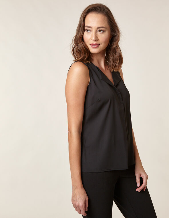 Black Sleeveless Blouse, Black, hi-res