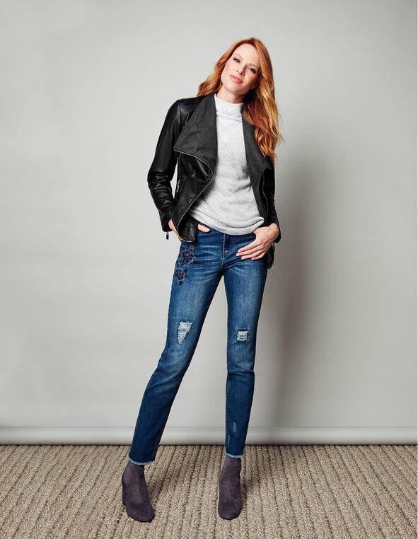 Black Suede Faux Leather Jacket, Black, hi-res