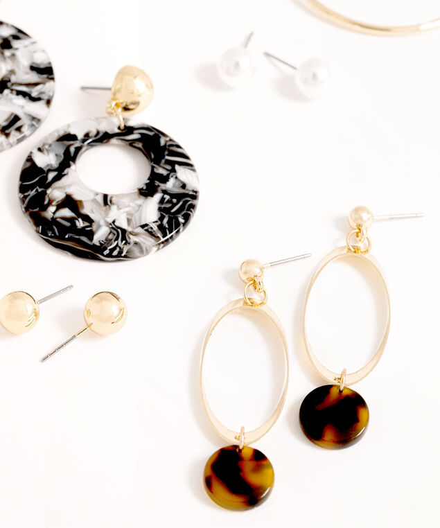 Gold Tortoise Shell Earring 6-Pack, Gold, hi-res
