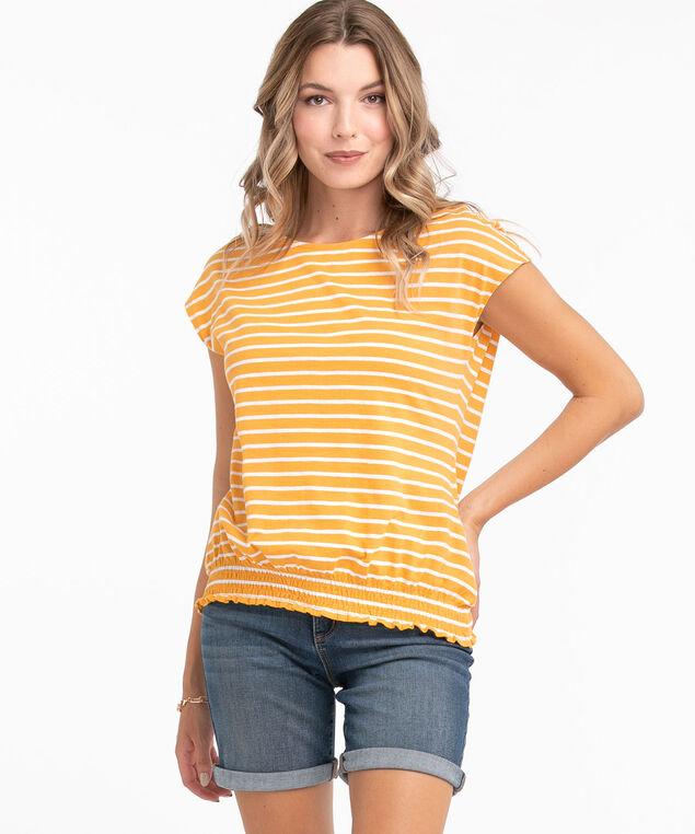 Yellow Stripe Smocked Cotton Tee, Yellow/White Stripe