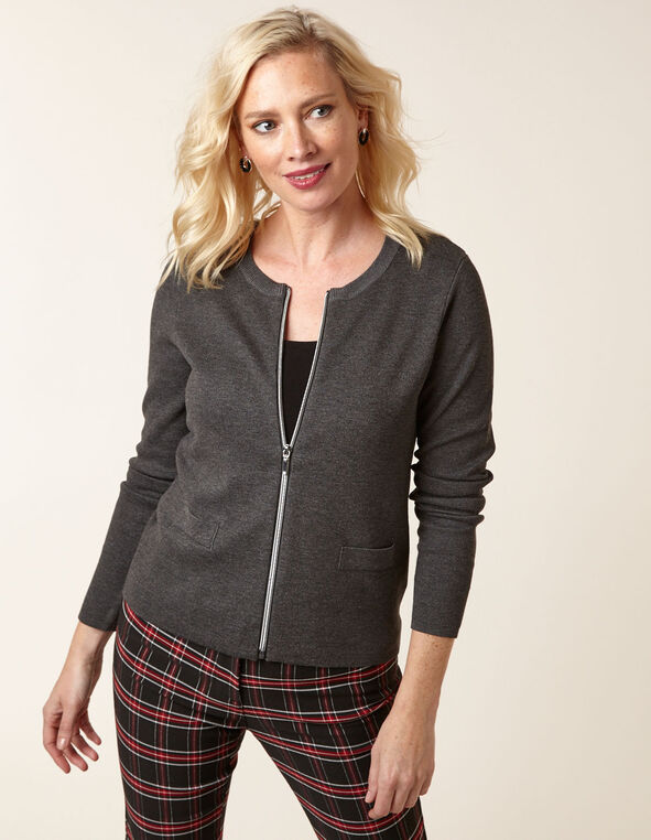 Charcoal Zipper Front Cardigan, Charcoal, hi-res