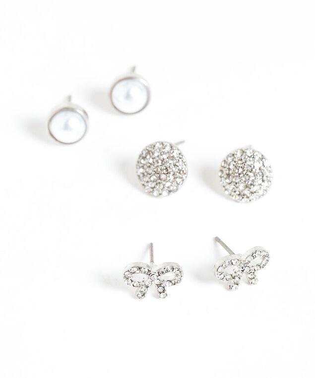 Crystal & Pearl Trio Earring Set, Silver/Pearl