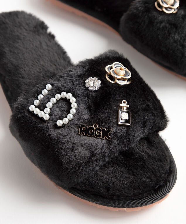 Charm Embellished Faux Fur Slippers, Black