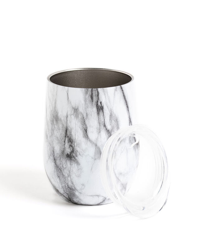 Insulated Wine Tumbler, White Marble